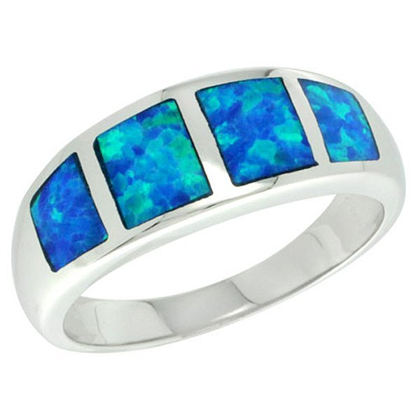 Sterling Silver Blue Opal Inlay Square Pattern Ring