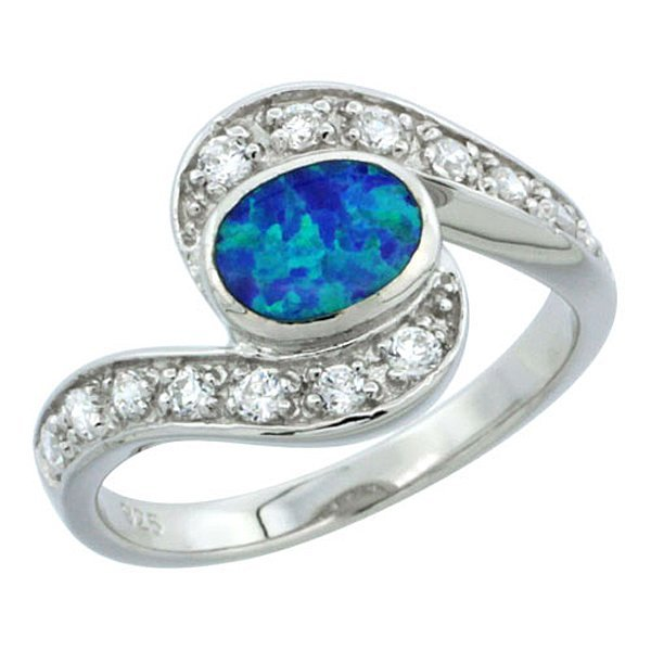 Sterling Silver Oval Shape Blue Opal Ring and CZ Stones