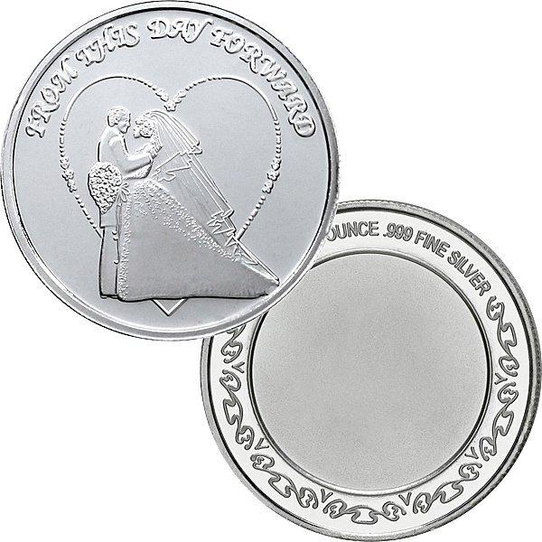 1 Oz Wedding Design .999 Fine Silver Round