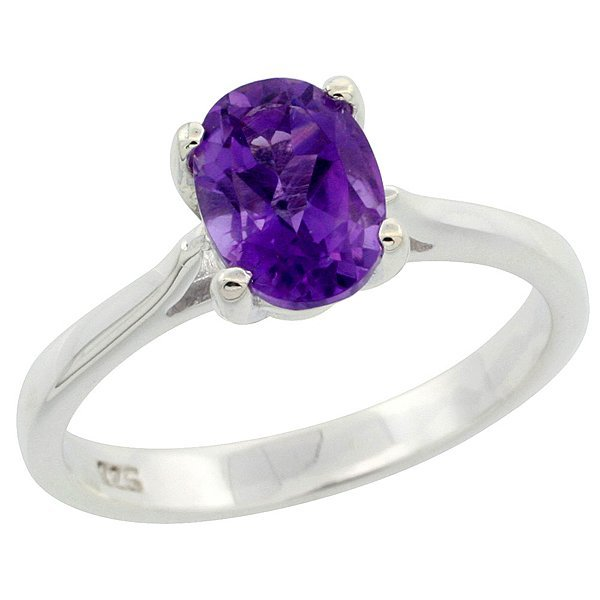 1.1 ct Amethyst Sterling Silver Solitaire Ring