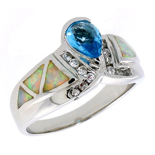 Sterling Silver Pink Opal Ring with Blue Topaz & CZ