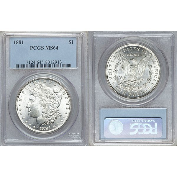 1881 $1 Morgan Silver Dollar MS64 PCGS