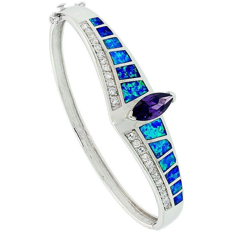 925 Sterling Silver Opal Bracelet with Amethyst & CZ