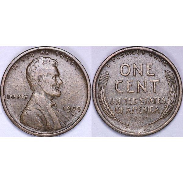 1909-S Lincoln Wheat Cent - Very Fine