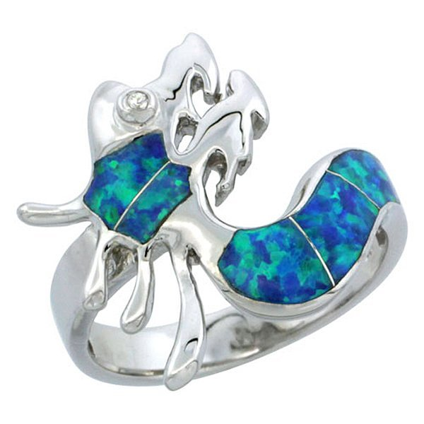 Sterling Silver Blue Opal Inlay Dragon Ring