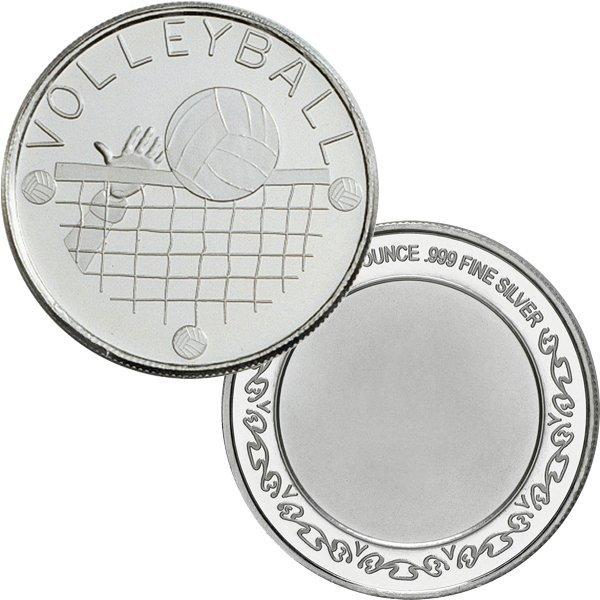 1 Oz Volleyball Design .999 Fine Silver Round