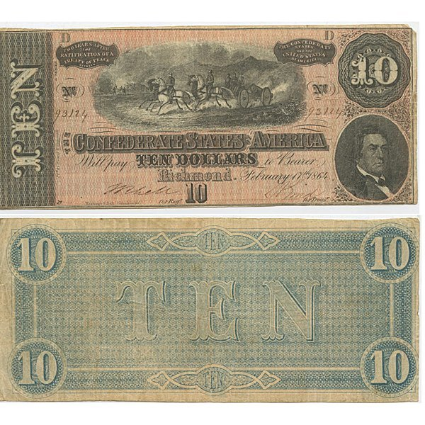1864 $10 Bill - Confederate Note - Fine