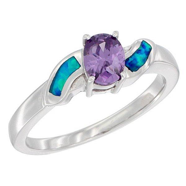 Sterling Silver Opal Ring & Oval Shape Amethyst