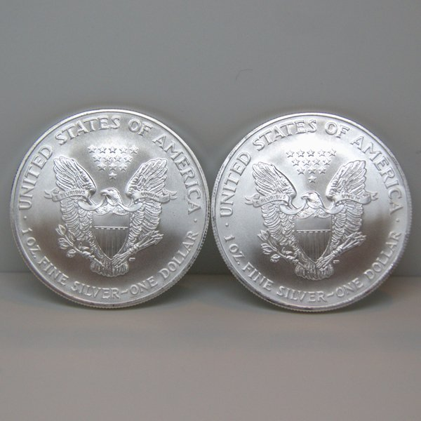 2-Coin Set American Silver Eagles - Unc