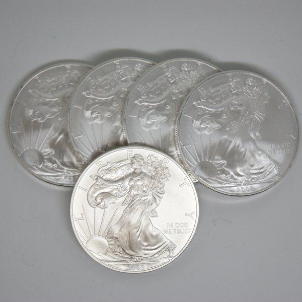 5-Coin Set American Silver Eagles - Unc