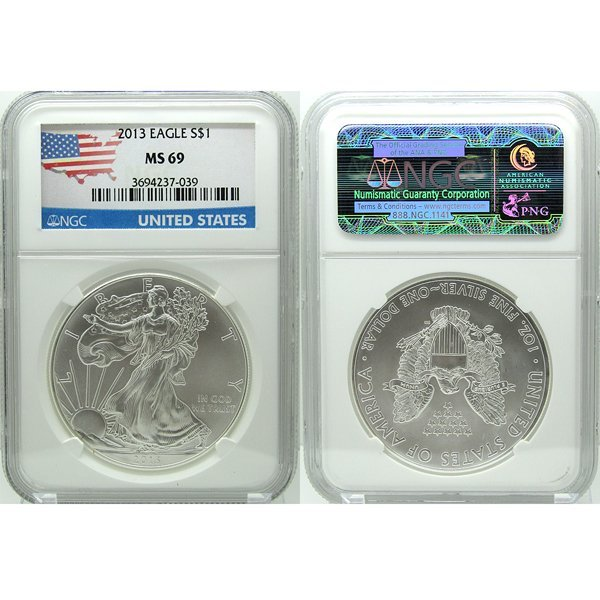 2013 Silver Eagle MS69 NGC - Flag Label