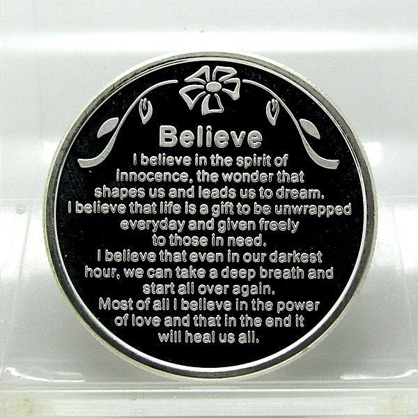 1 Oz Believe Design .999 Fine Silver Round