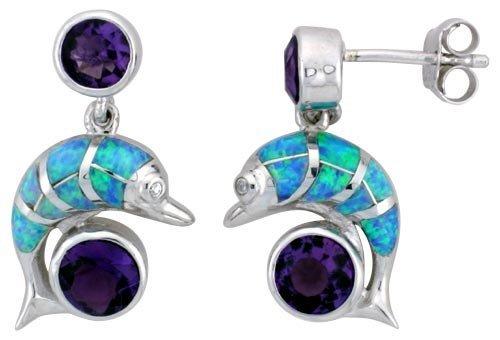 Sterling Silver Blue Opal Dolphin Earrings