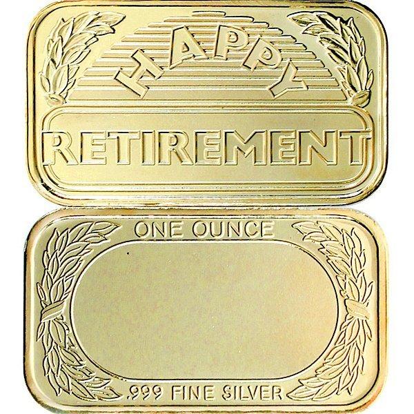 1 Oz Retirement Design .999 Silver Bar - Gilded