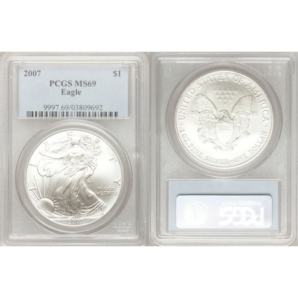 2007 1 Oz Silver Eagle MS69 PCGS