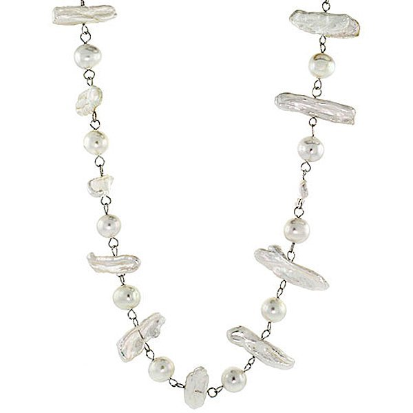 Sterling Silver 8mm & 25mm Freshwater Pearl Necklace