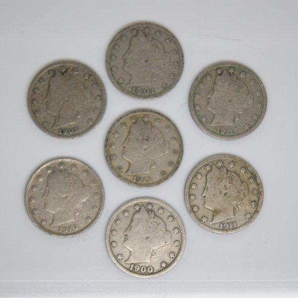 7-Coin Set Liberty Head V Nickel - Full Date