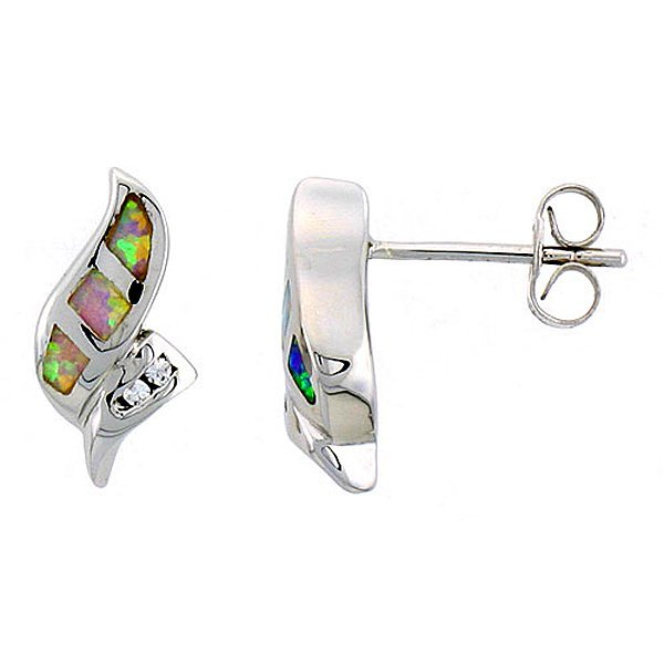 Sterling Silver Pink Opal Stud Earrings with CZ Stones