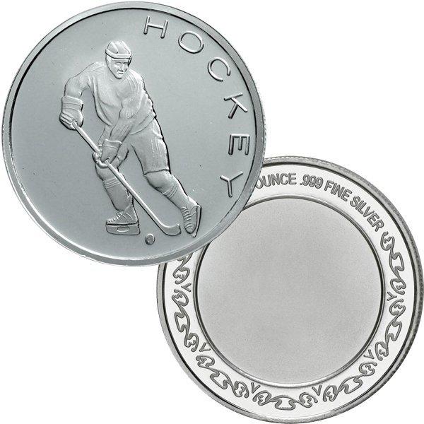 1 Oz Hockey Design .999 Fine Silver Round