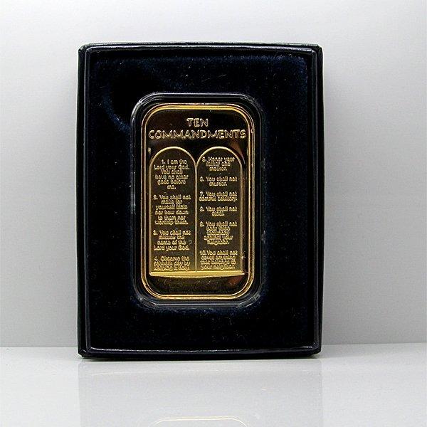 Ten Commandments .999 Silver Bar Gold Plated w/Box