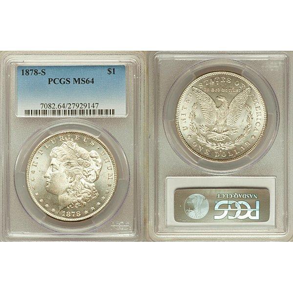 1878-S $1 Morgan Silver Dollar MS64 PCGS