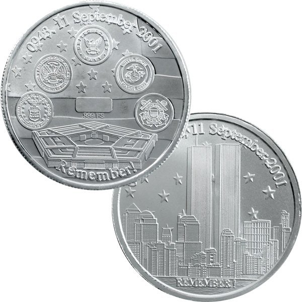 1 Oz 7/11 Twin Towers Design .999 Silver Round