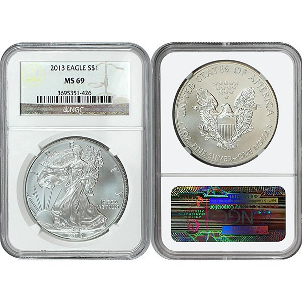 2013 Silver Eagle MS69 NGC - Brown Label