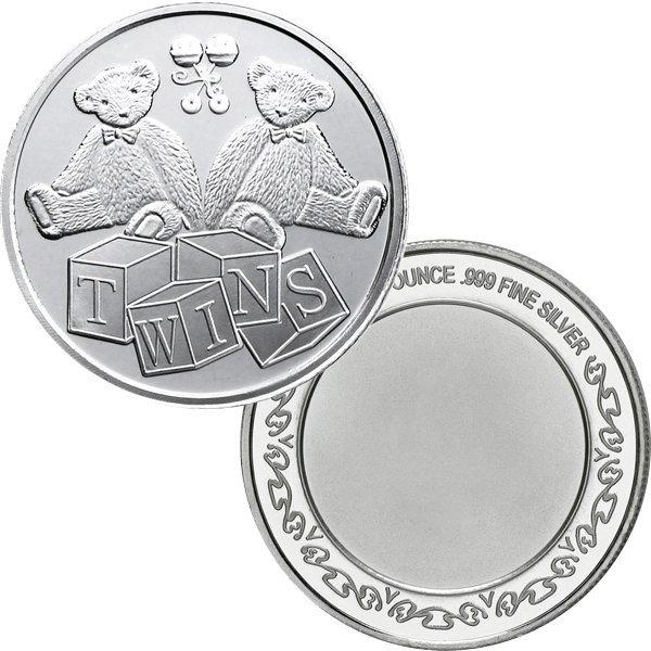 1 Oz Twins Design .999 Fine Silver Round