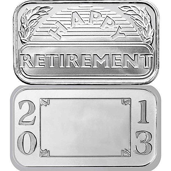 1 Oz Retirement Design .999 Fine Silver Bar