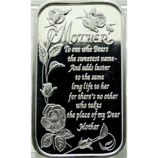 1 Oz Mother Poem Design .999 Fine Silver Bar