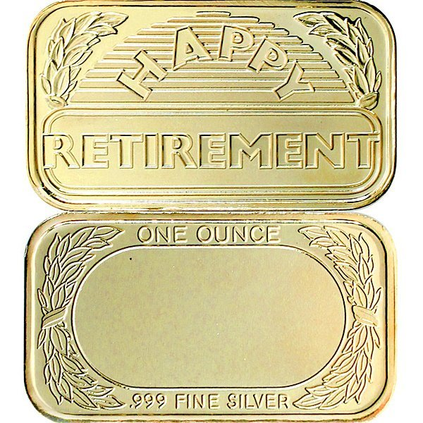 1 Oz Retirement Design .999 Silver Bar - Gilded