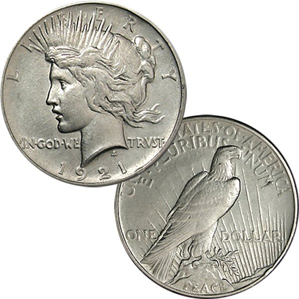 1921 $1 Peace Silver Dollar - Almost Uncirculated