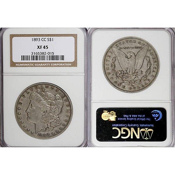 1893-CC Morgan Silver Dollar XF45 NGC