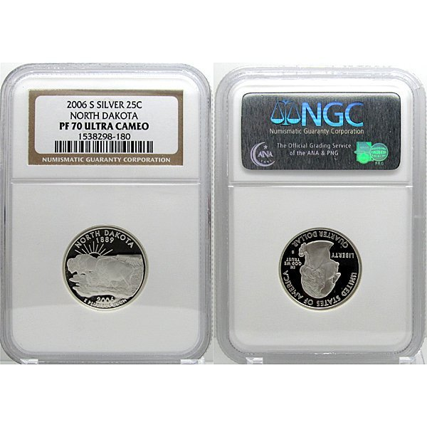 2006-S Silver North Dakota State Quarter PF70 NGC
