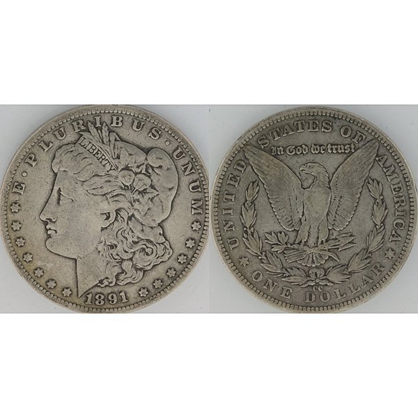 1891-CC $1 Morgan Silver Dollar - Very Fine