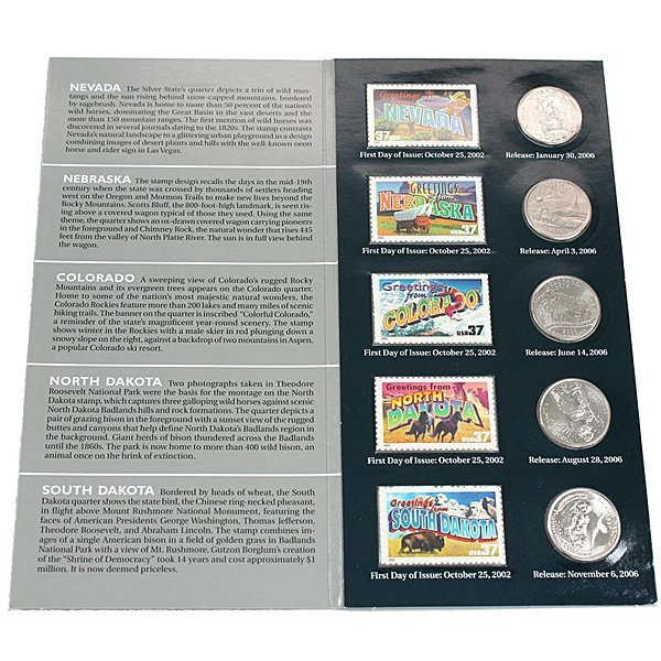 2006 Set of 5 Quarters & Stamps