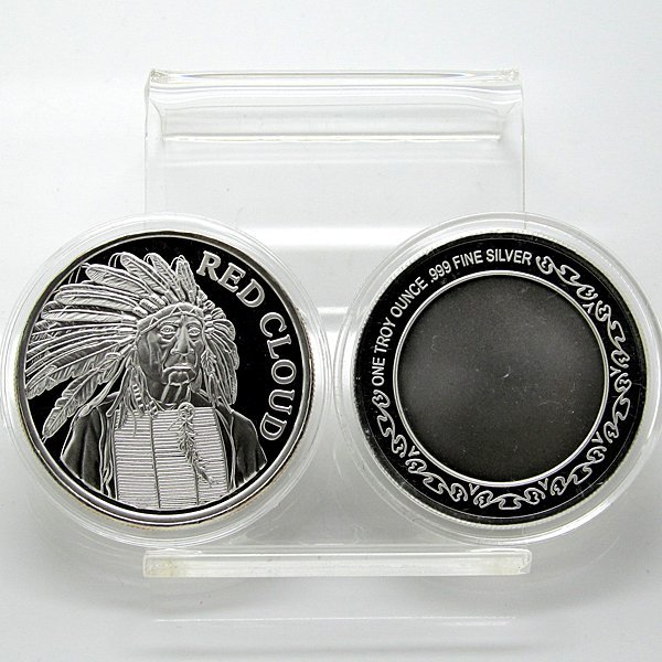 1 Oz Red Cloud Indian Chief .999 Fine Silver Round