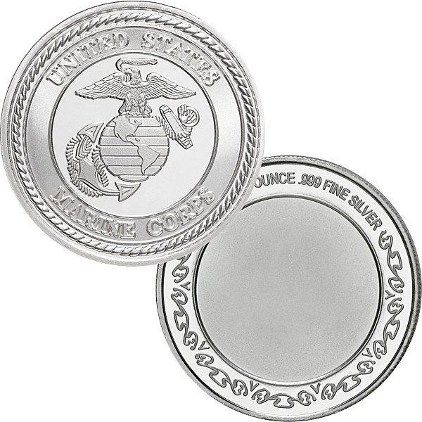 1 Oz US Marines Design .999 Fine Silver Round