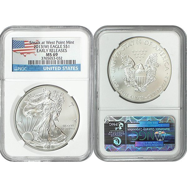 2013-(W) Eagle Early Releases MS69 NGC - Flag Label