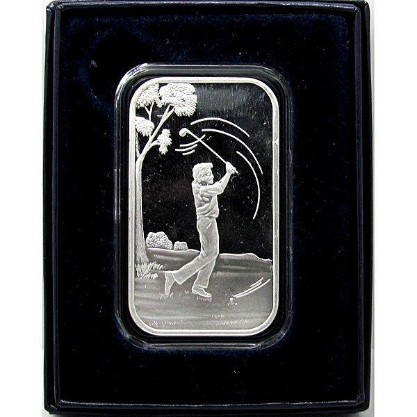 1 Oz Male Golfer Design .999 Fine Silver Bar - w/Box