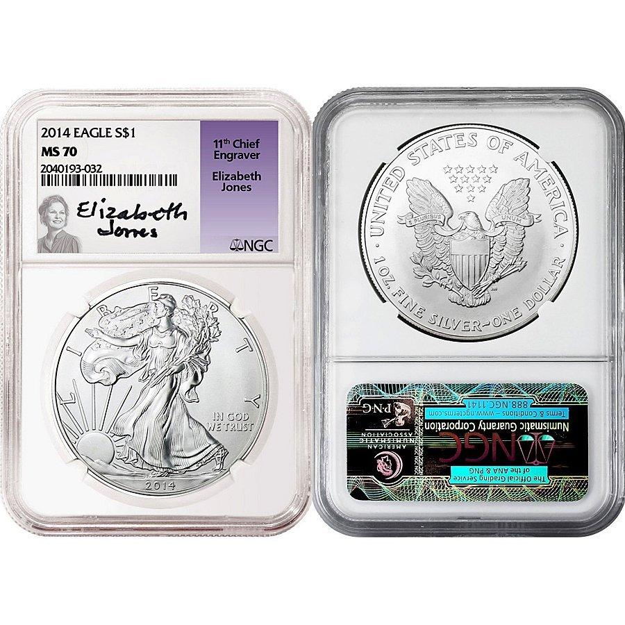 2014 Silver Eagle MS70 NGC - Elizabeth Jones Labe