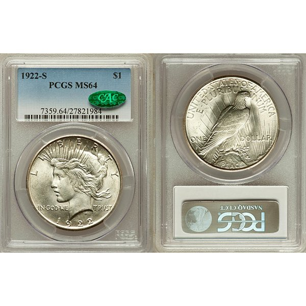 1922-S Peace Silver Dollar MS64 PCGS - CAC