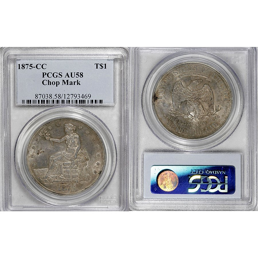 1875-CC Trade Silver Dollar AU58 PCGS - Chop Mark