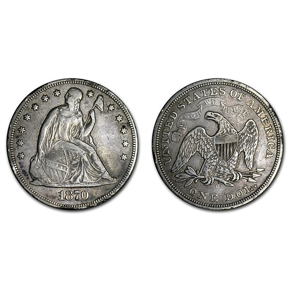 1870-CC Seated Liberty Silver Dollar XF Details - Rim