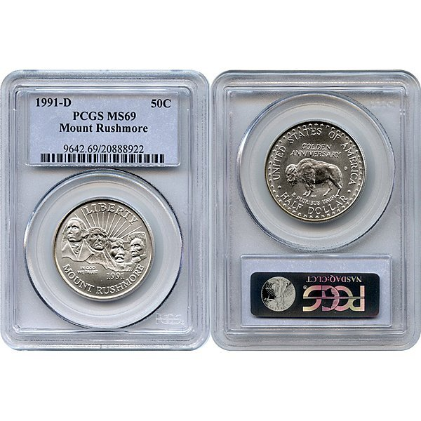 1991-D Mount Rushmore Half Dollar MS69 PCGS