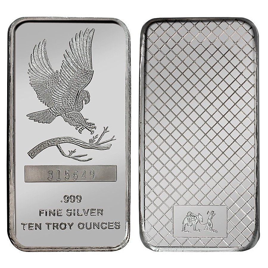 10 Oz Eagle Design .999 Fine Silver Bar
