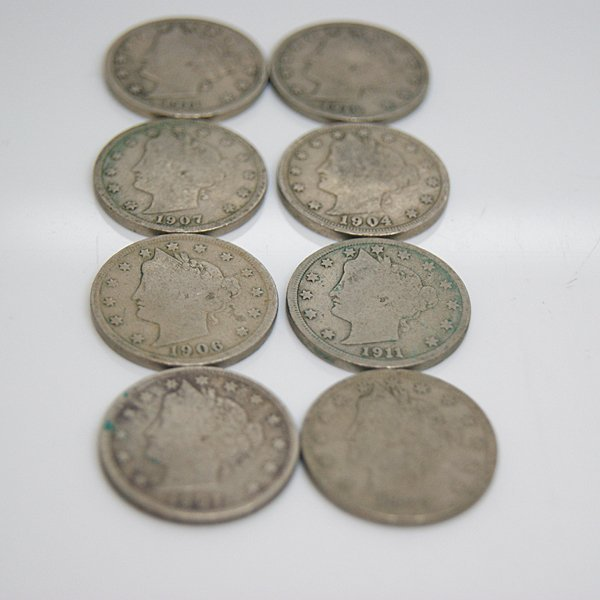 8-Coin Set Liberty Head V Nickel - Full Date