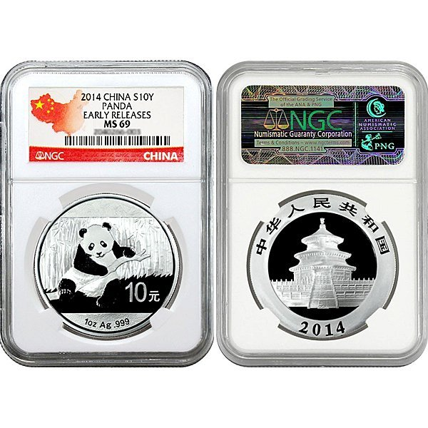 2014 Silver Panda ER MS69 NGC - Country Label