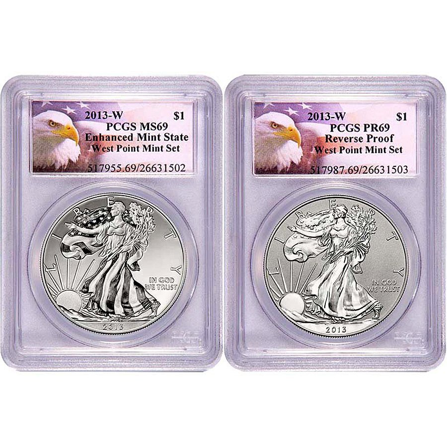 2013-W Silver Eagle Set 69 PCGS - Eagle Label