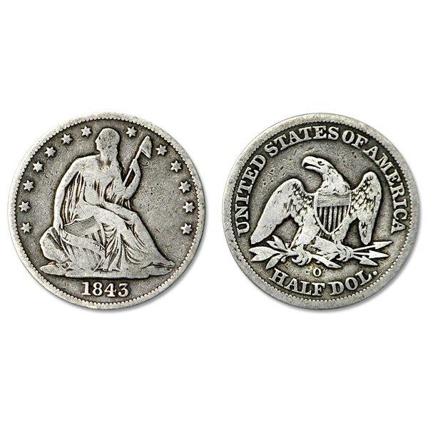 1843-O Seated Liberty Silver Half Dollar - VG